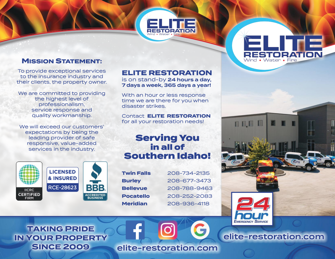 Service brochure describing Elite Restorations different services, including the repair of mold damage.